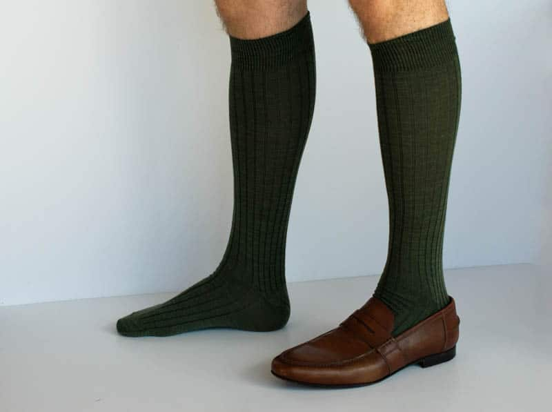 green over the calf sock with and without shoe