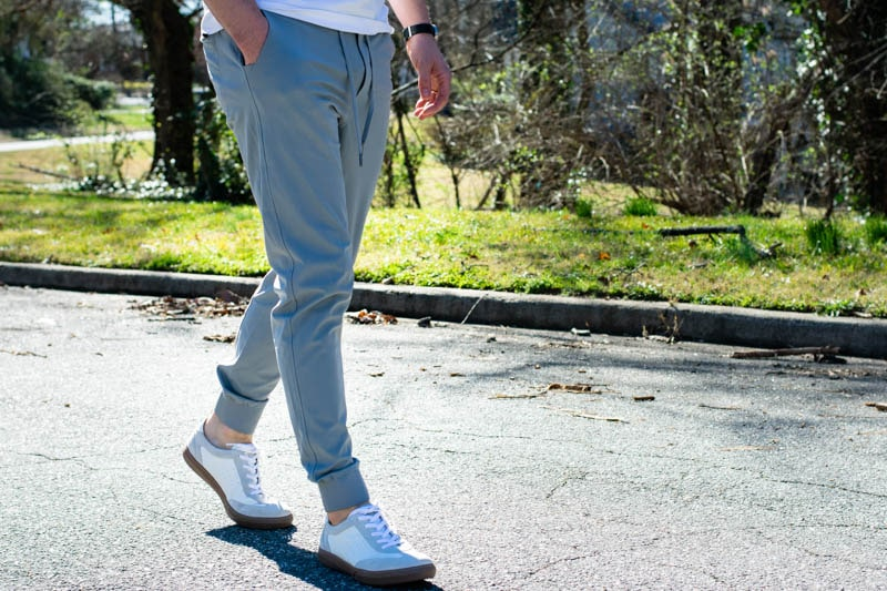 grey truwear joggers with white sneakers