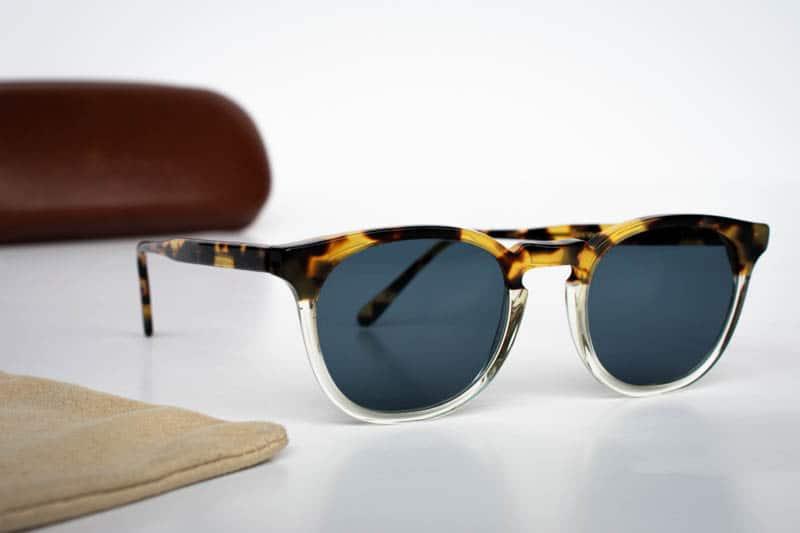 illesteva eldridge sunglasses with leather case white background