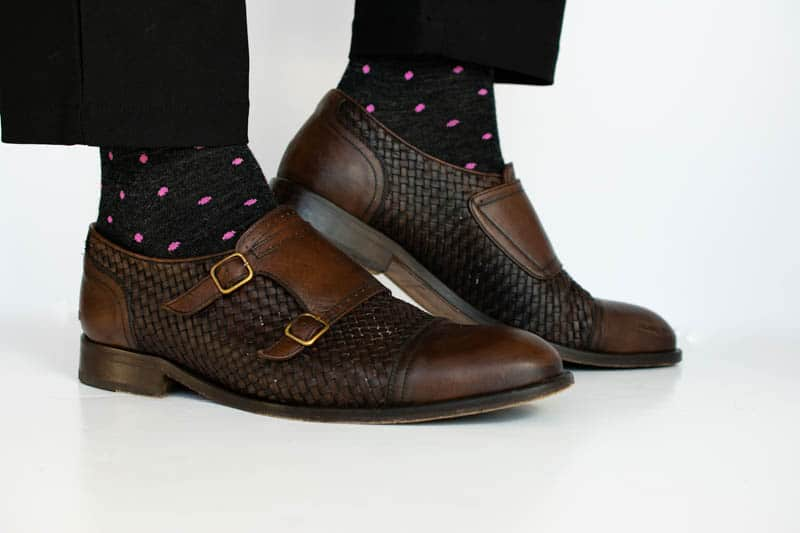 pink polka dot on charcoal mid calf sock