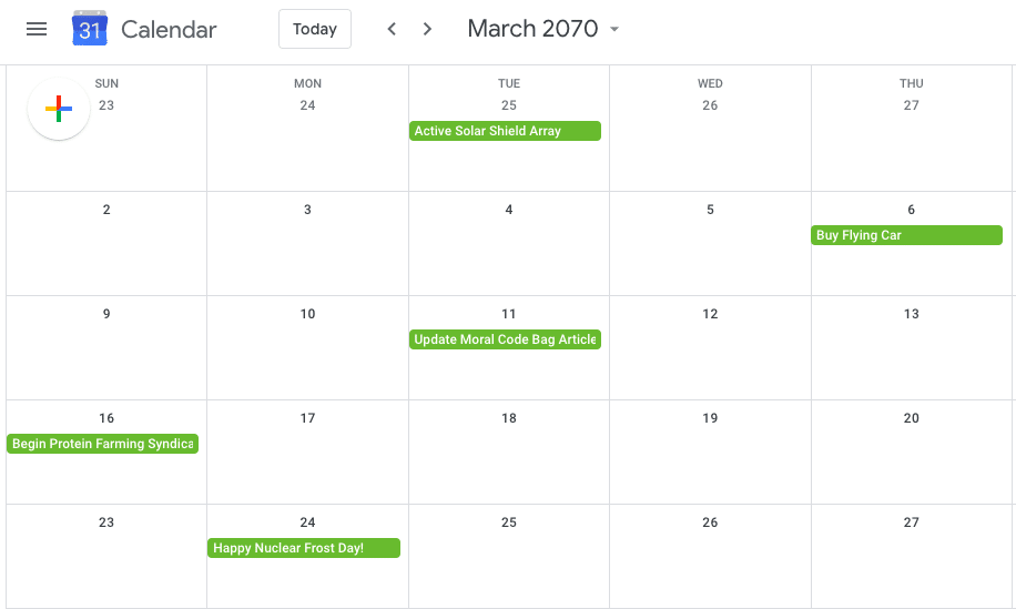 Calendar of the future update moral code review