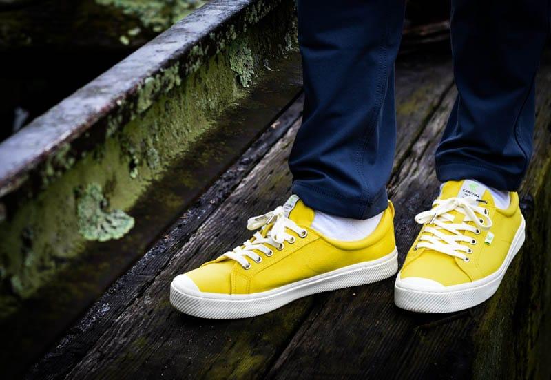 cariuma canvas yellow sneakers