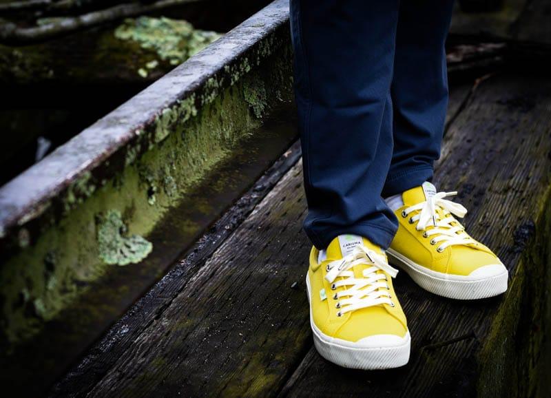 cariuma oca low yellow minimalist sneakers
