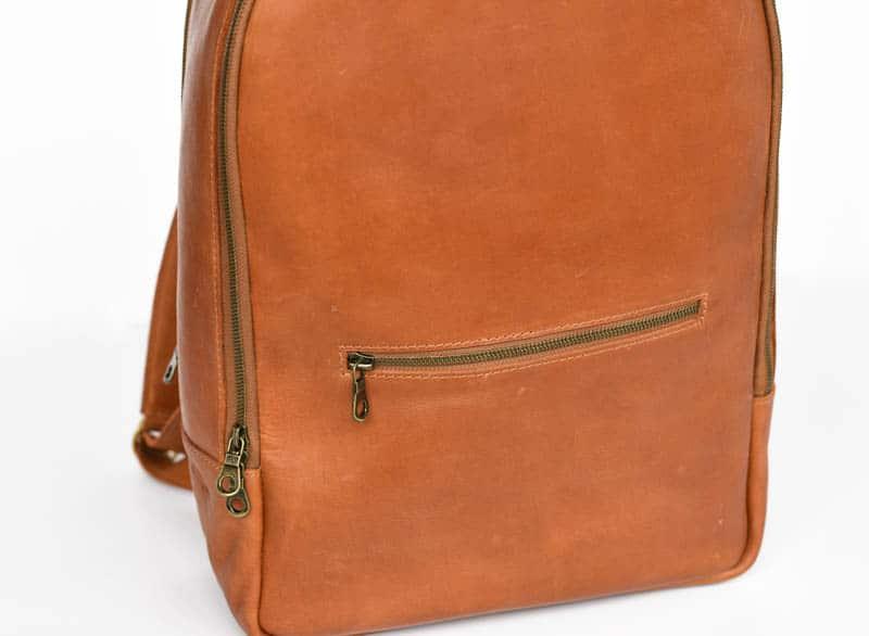 closeup of brass zipper on atlas backpack