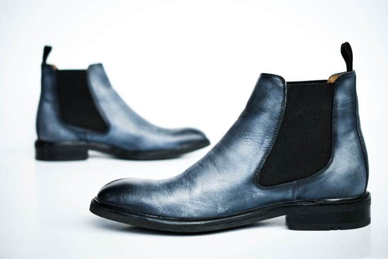 face to face chelsea boots blue leather moral code