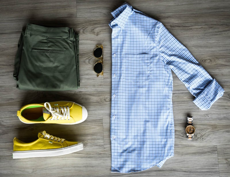 flatlay featuring bluffworks ascneder chinos meridiant shirt original grain watch cariuma sneakers messyweekend sunglasses