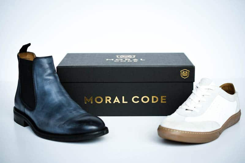 lawry chelsea boot and brooks leather trainer sneaker from moral code with black shoebox on white background