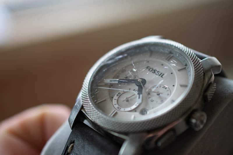 scratched fossil watch crystal