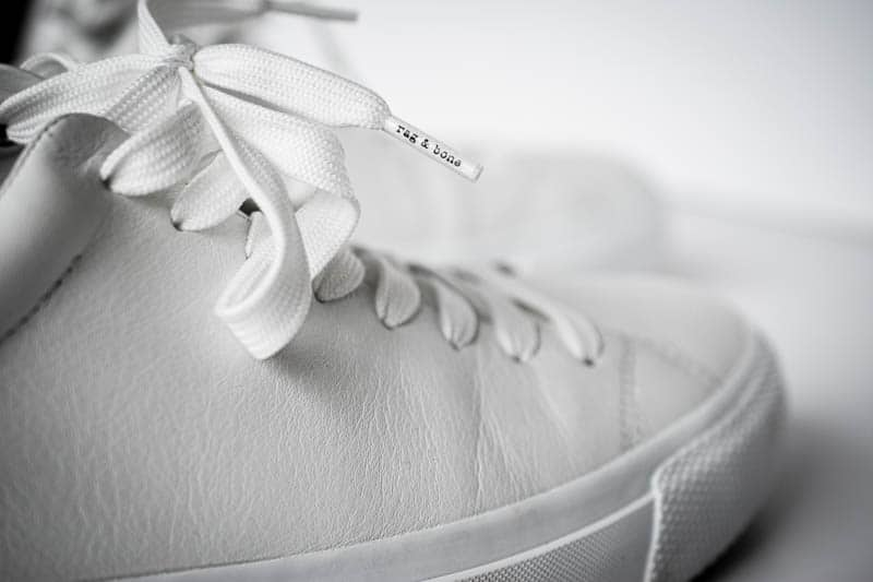 closeup of shoelace for rag and bone sneakers