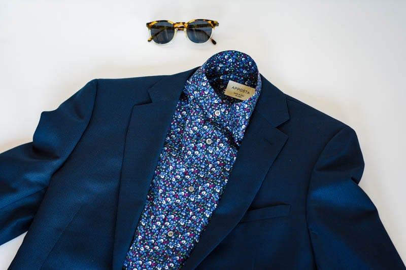 floral pattern blue shirt with blue suit