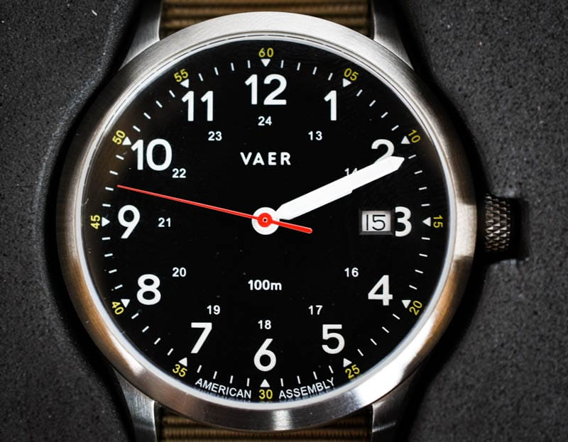 vaer c5 field heritage watch black dial closeup in packaging