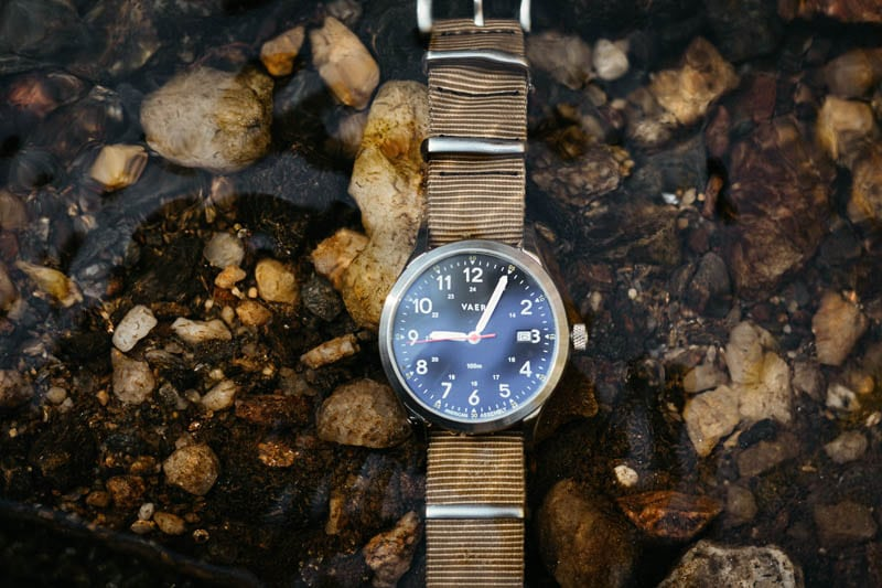 vaer c5 field watch underwater in river