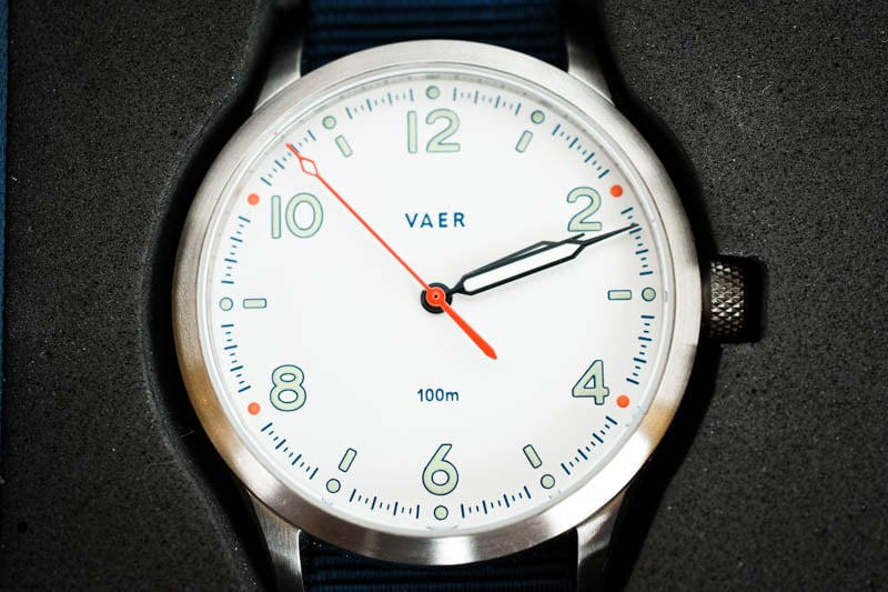 vaer s5 dial closeup mint white and orange