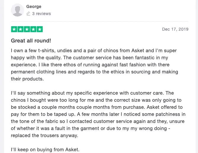 Asket review screenshot