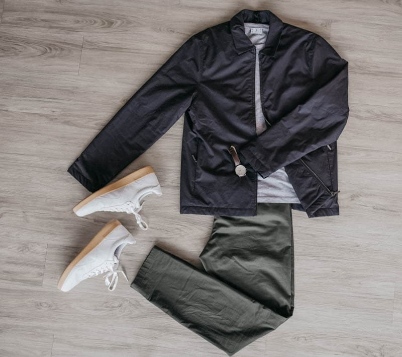 photo grid of asket minimalist outfit