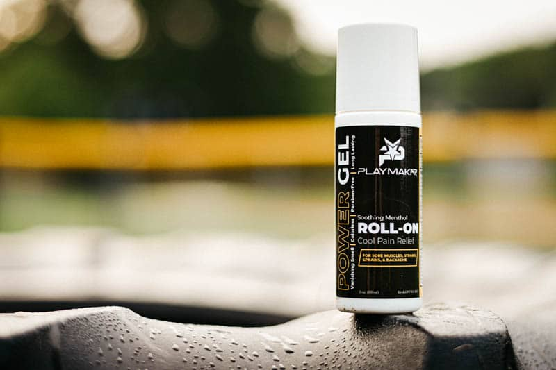 Close up PlayMakar roll on theraputic menthol gel for sore muscles