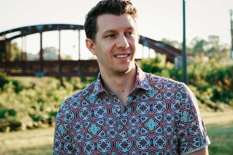 model wearing carbone short sleeve shirt moroccan tile inspired robert graham